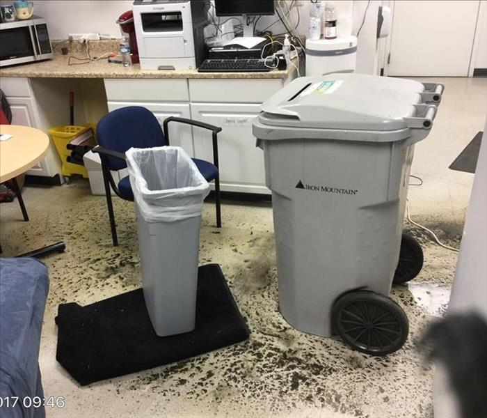 Drain back up in AT&T employee breakroom